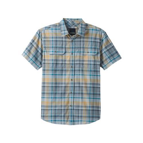 prAna Men's Cayman Plaid Short Sleeve Shirt Rain
