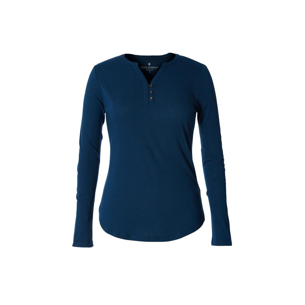 Royal Robbins Women's MerinoLUX Henley Long Sleeve Shirt HARBOR_094