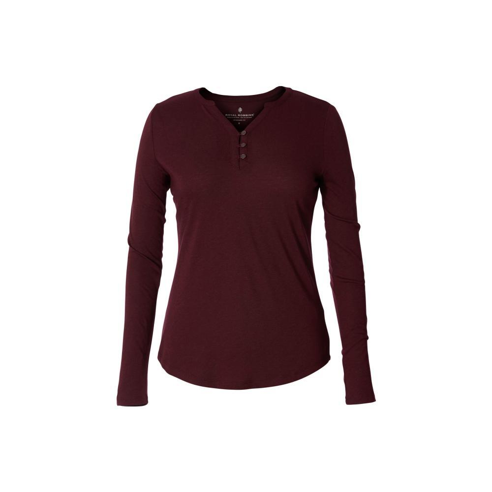 Royal Robbins Women's MerinoLUX Henley Long Sleeve Shirt MALBEC_210