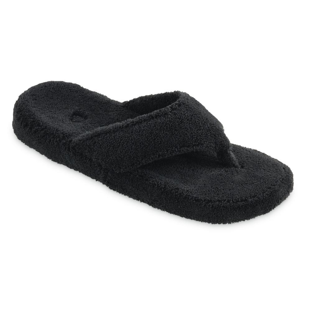 Acorn Women's Spa Thong Terry Slippers BLACK
