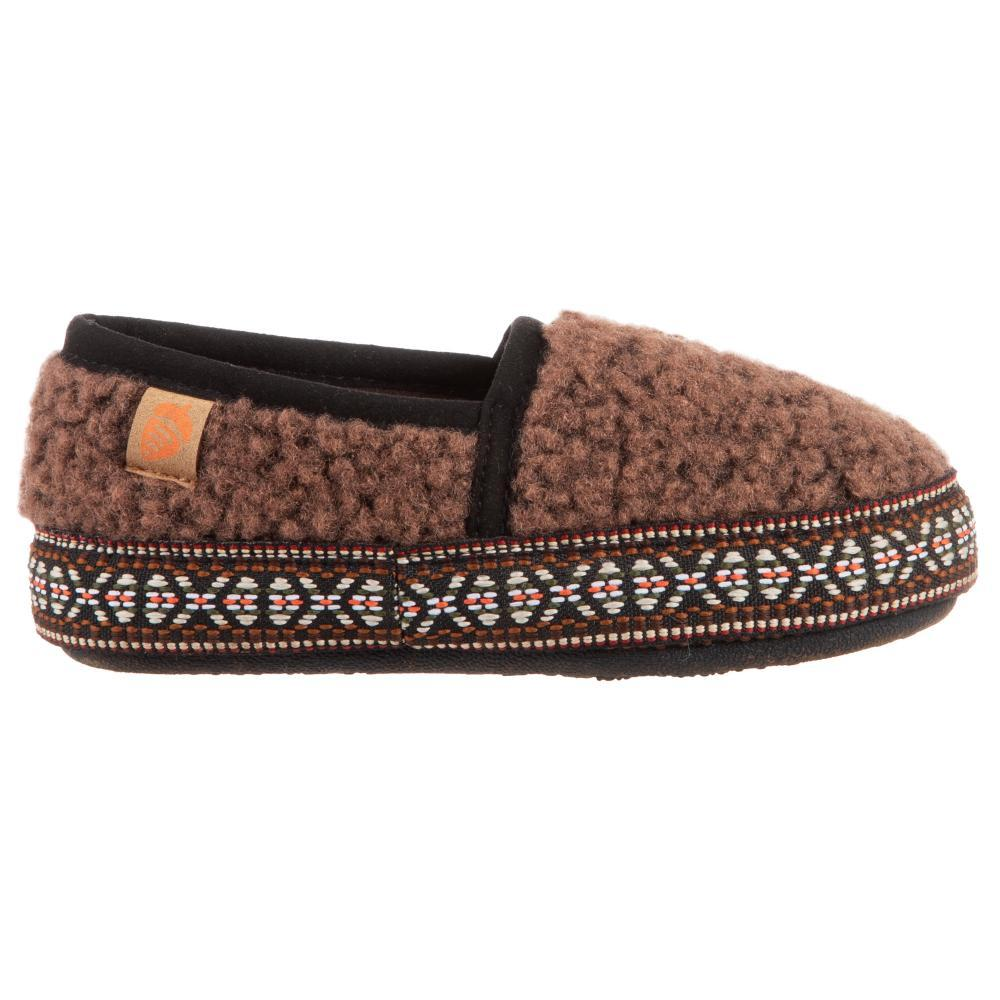 Acorn Kids Lil Woven Trim Moccassin Slippers WALNUT