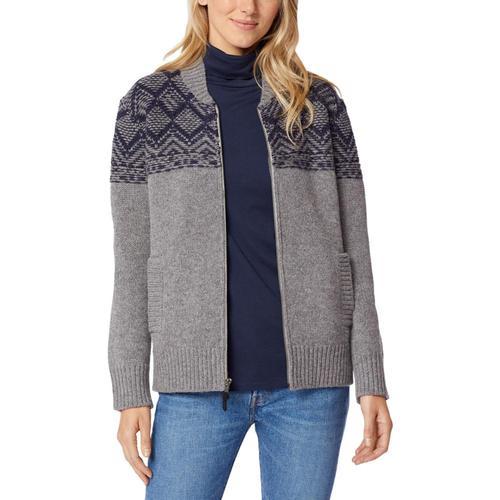 Pendleton Women's Mosaic Yoke Zip Front Sweater Grey_73746