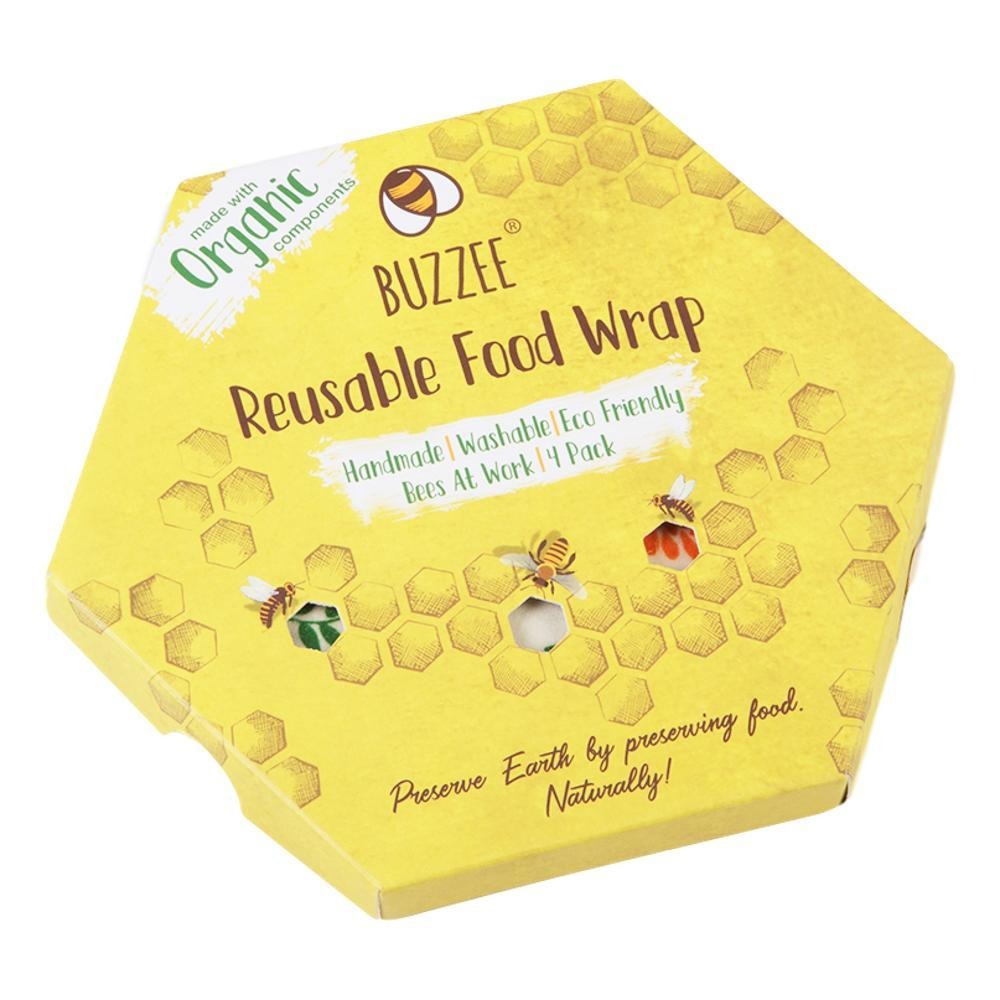 Buzzee Wraps Eco-Friendly Food Wrap - 4 Pack BEESATWORK