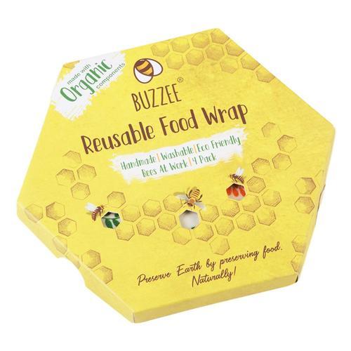 Buzzee Wraps Eco-Friendly Food Wrap - 4 Pack Beesatwork
