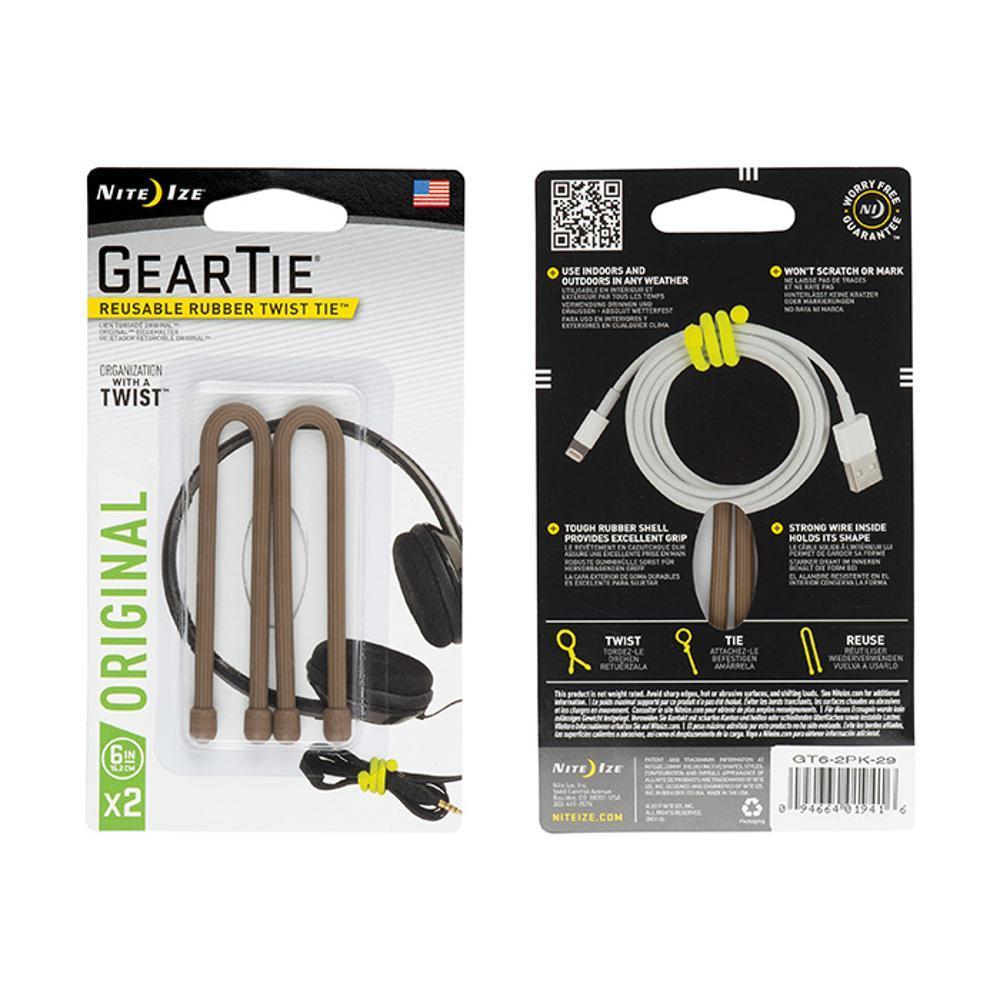 Nite Ize Gear Tie Reusable Rubber Twist Tie - 6in 2-Pack COYOTE