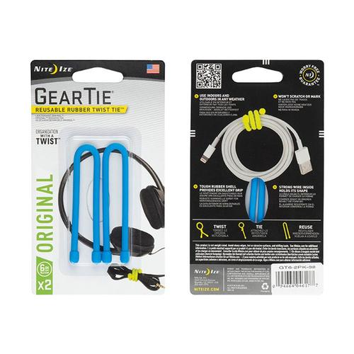 Nite Ize Gear Tie Reusable Rubber Twist Tie - 6in 2-Pack Brightblue