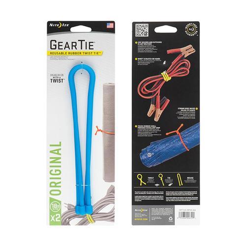 Nite Ize Gear Tie Reusable Rubber Twist Tie - 18in 2-Pack Brightblue