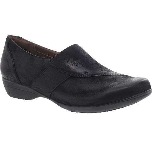 Dansko Women's Fae Black Burnished Nubuck Slip-On Shoes Blkburn.Np