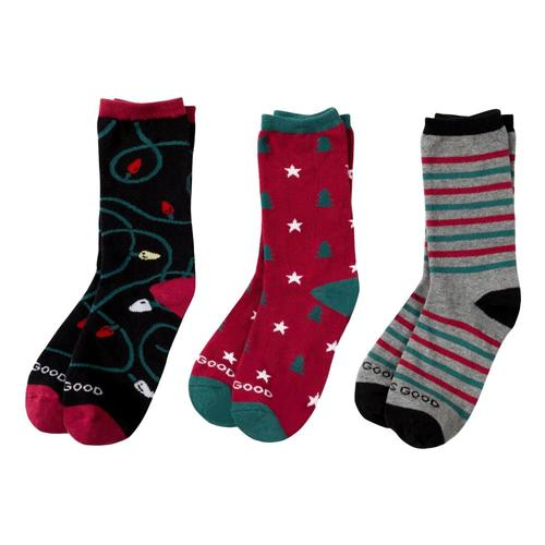 Life is Good Women's Holiday Crew Socks - 3-Pack Holiday