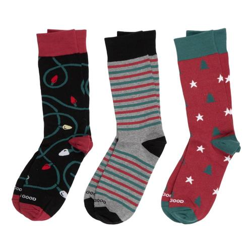 Life is Good Men's Holiday Crew Socks - 3-Pack Holiday