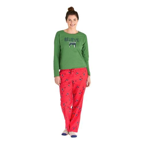 Life is Good Women's Reindeer Snow LIG Classic Sleep Pants Americana