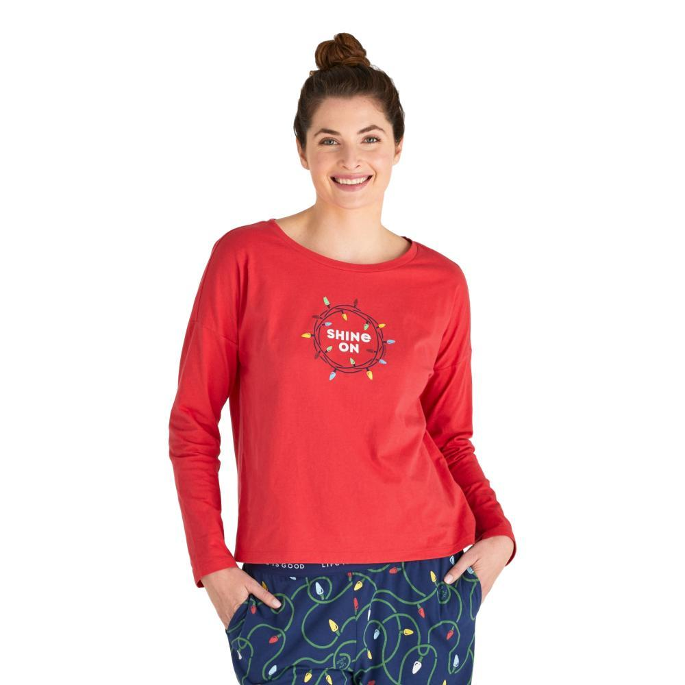 Life is Good Women's Shine On Snuggle Up Relaxed Sleep Long Sleeve Top AMERICANA