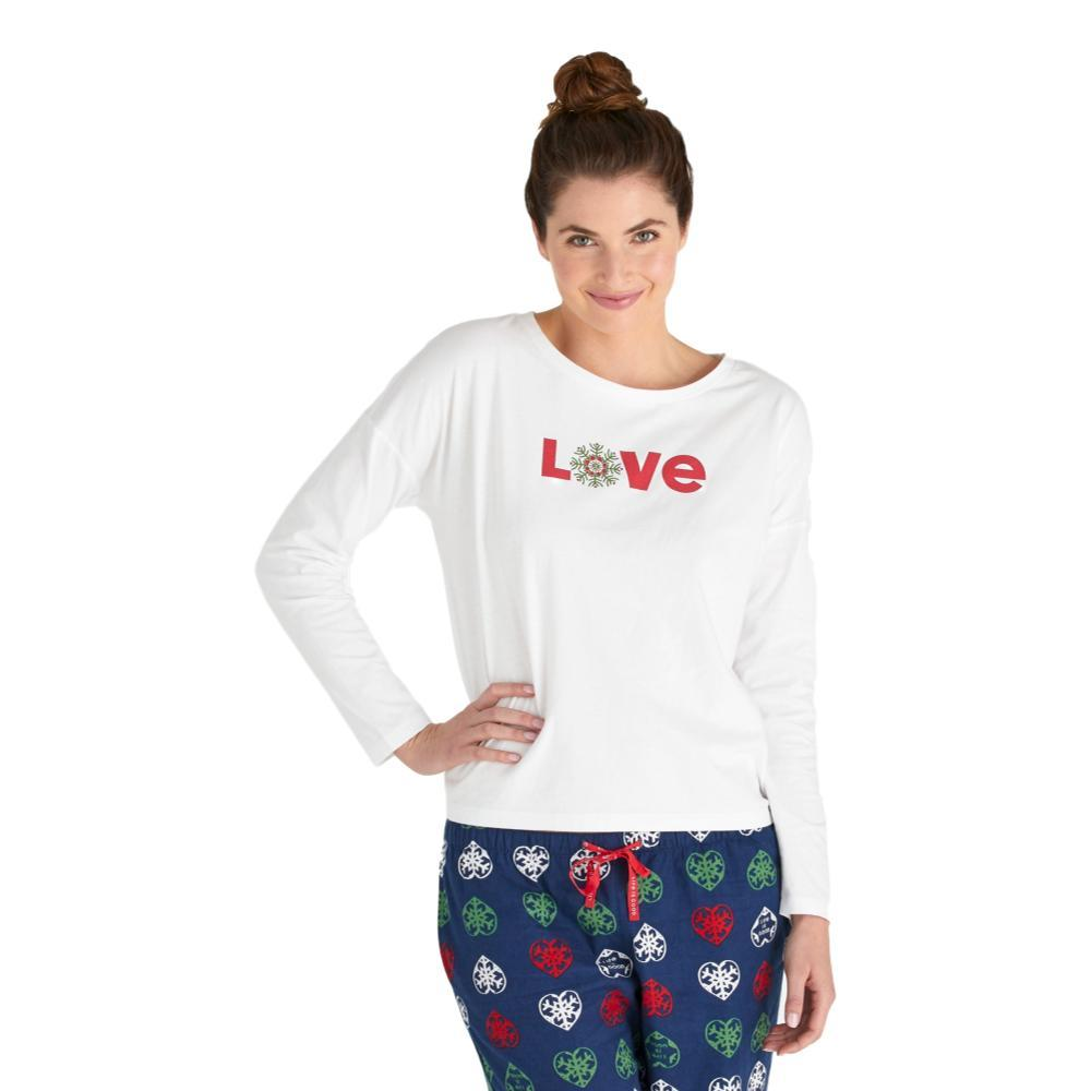 Life is Good Women's Love Snowflake Snuggle Up Relaxed Sleep Long Sleeve Top CLOUDWHITE