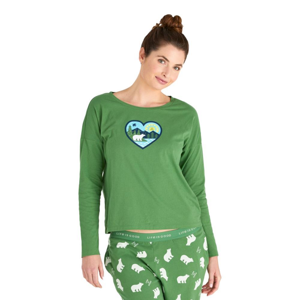 Life is Good Women's Winter Heart Landscape Snuggle Up Relaxed Sleep Long Sleeve Top FRESHPINE
