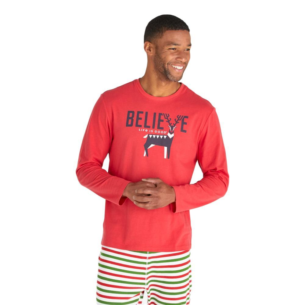 Life is Good Men's Believe Long Sleeve Sleep Tee RED