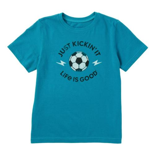 Life Is Good Boys Just Kickin' It Crusher Tee Shirt Seablue