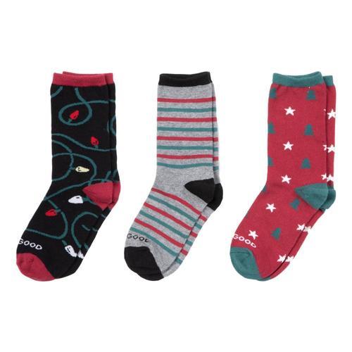 Life is Good Kids Holiday Crew Socks 3pk Holiday