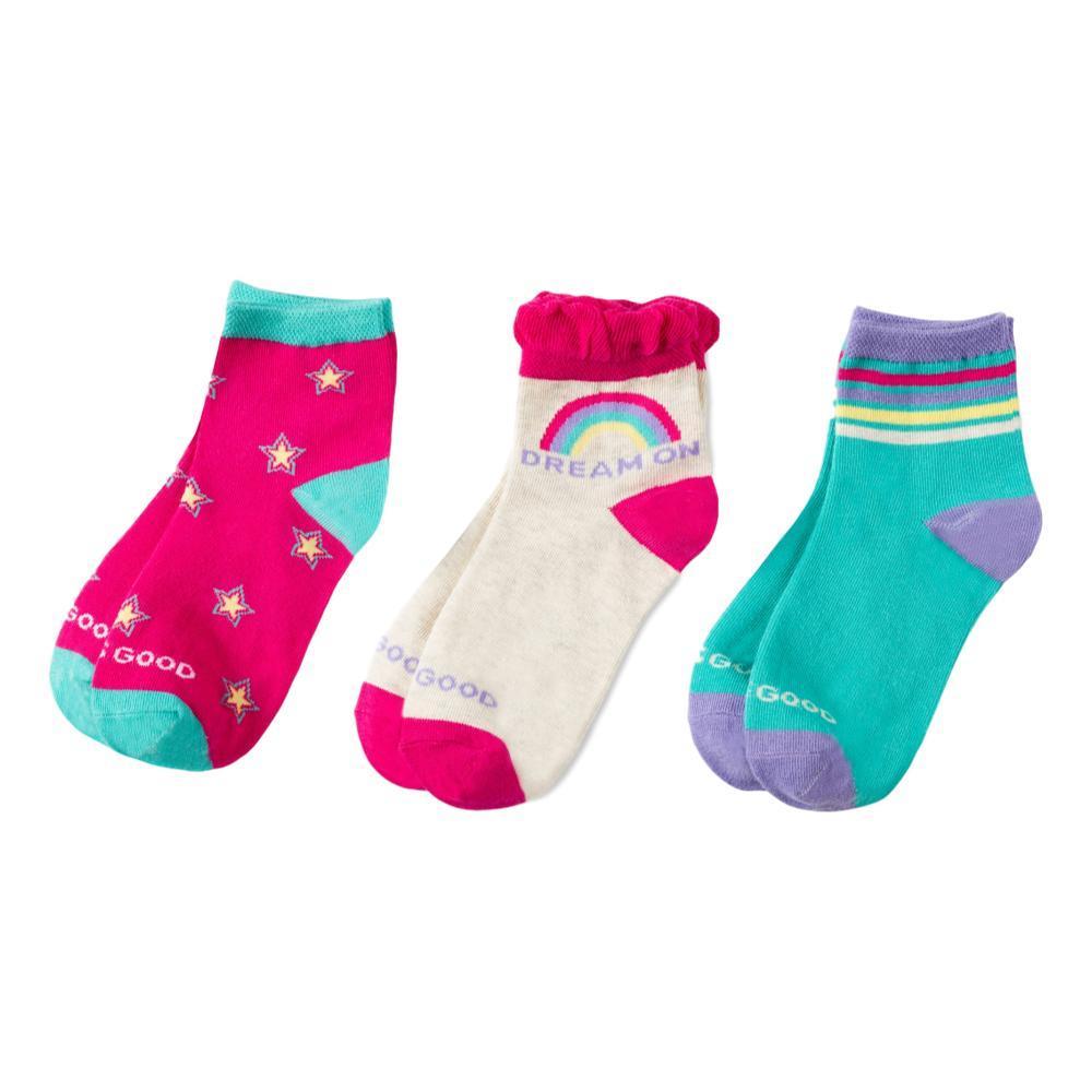 Life is Good Girls Dream On Rainbow Stars Quarter Socks 3pk PNKDREAM