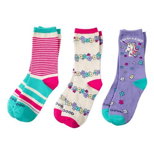 Life is Good Girls Unicorn Flowers Crew Socks 3pk Pnkunicrn