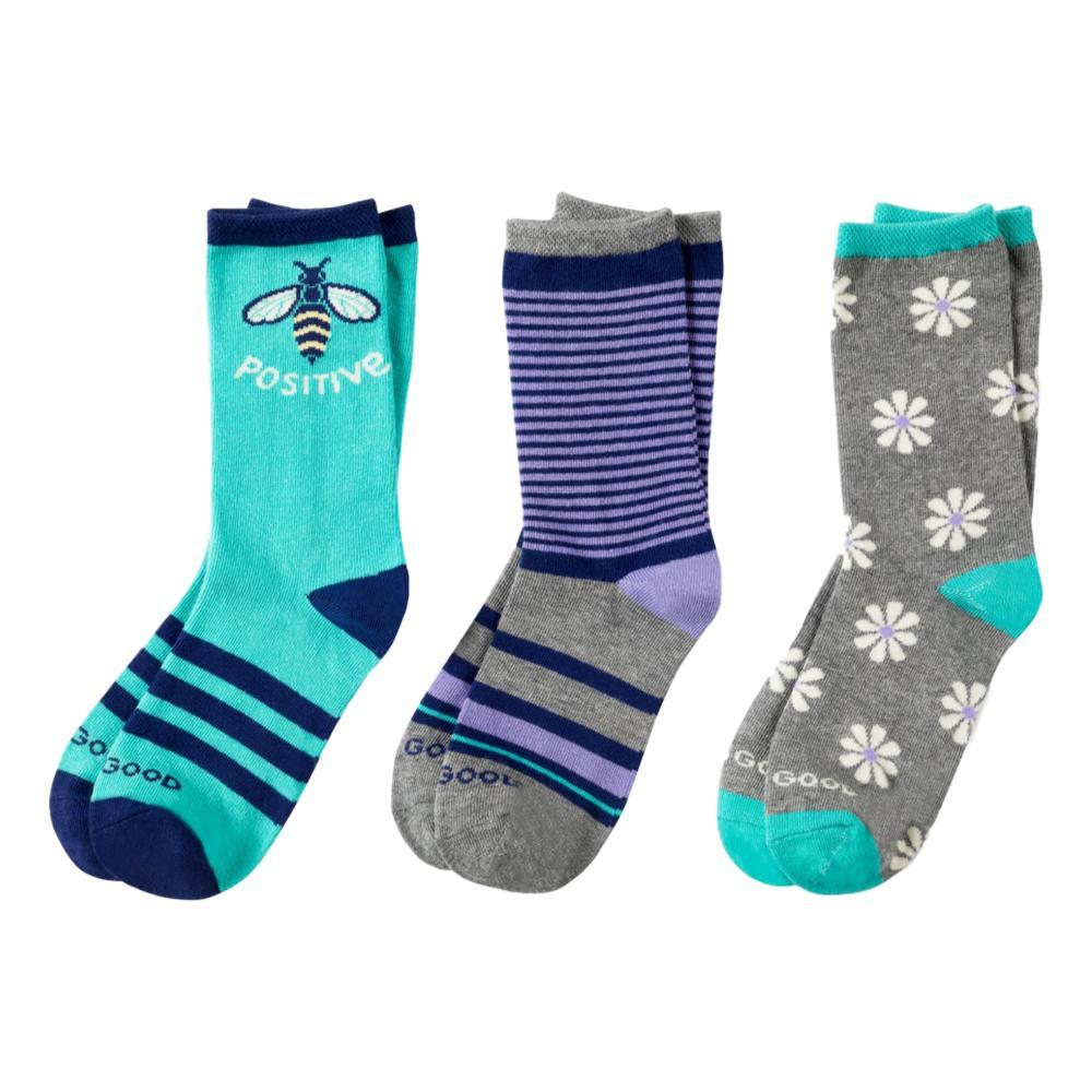 Life is Good Girls Bee Positive Daisy Crew Socks 3pk PURPBEE