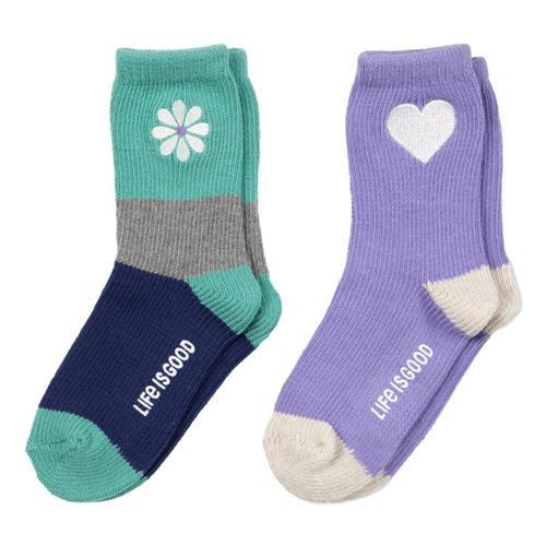 Life is Good Girls Daisy & Hearts Heavy Gauge Socks 2pk Purpheart