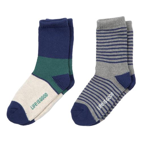 Life is Good Boys Stripe Heavy Gauge Crew Socks 2pk Nvygrngry