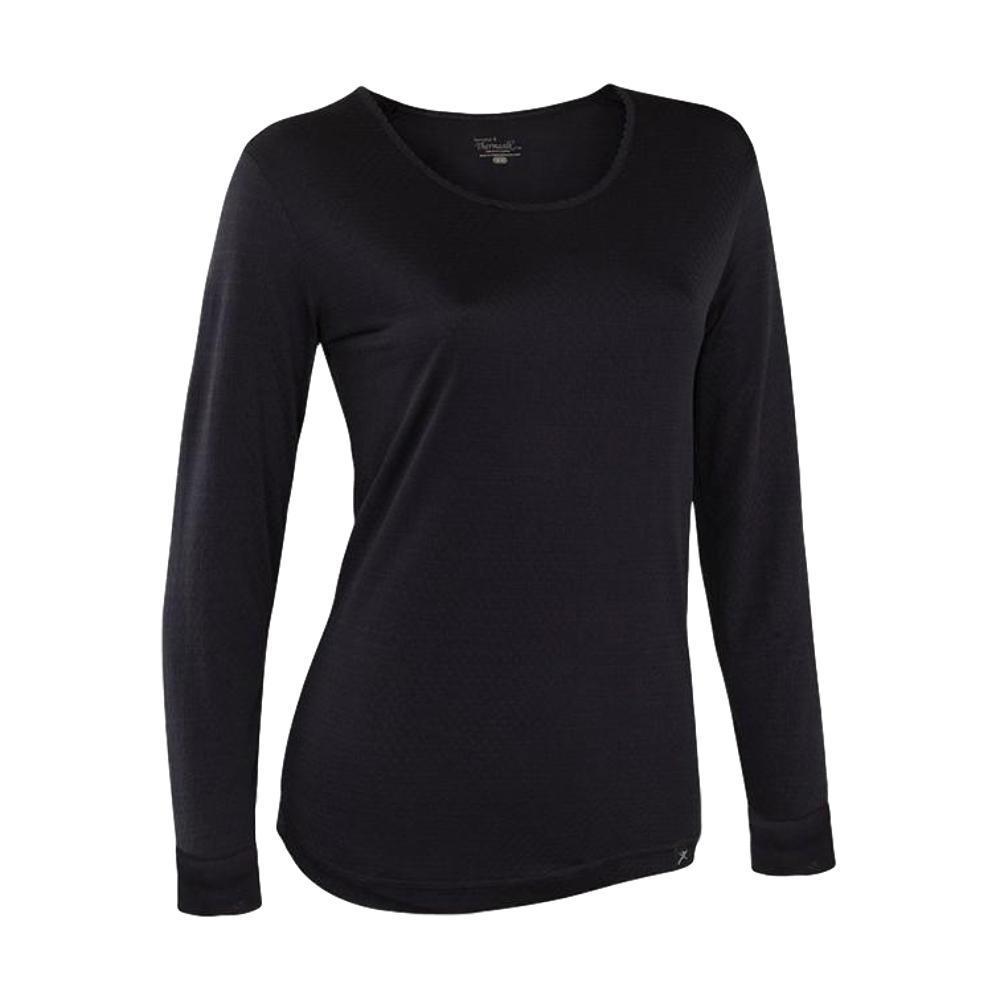 Terramar Women's Thermasilk Pointelle Scoop Neck Top BLACK