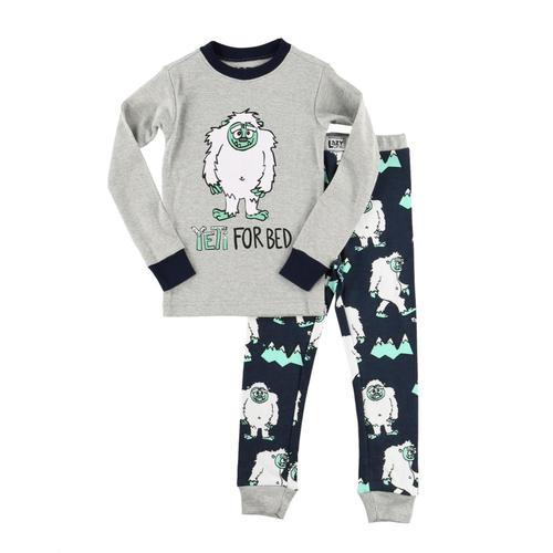 Lazy One Kids Yeti For Bed PJ Set Gry_nvy