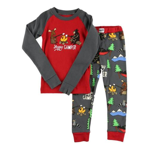Lazy One Kids Happy Camper PJ Set Red_brn