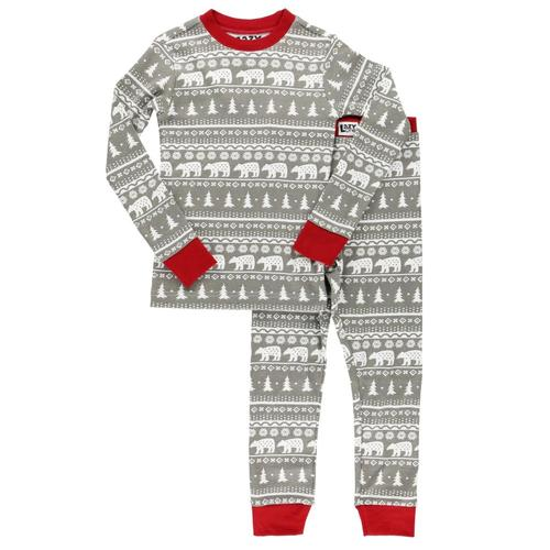 Lazy One Kids Nordic Bear PJ Set Gry_red