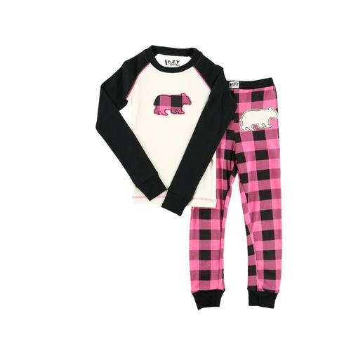 Lazy One Kids Bear Plaid PJ Set Blk_pink