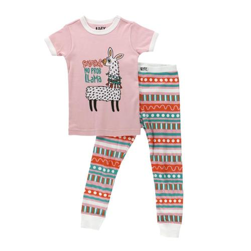 Lazy One Kids No Prob Llama PJ Set Pink_red