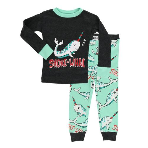 Lazy One Kids SnoreWhal Narwhal PJ Set Nvy_teal
