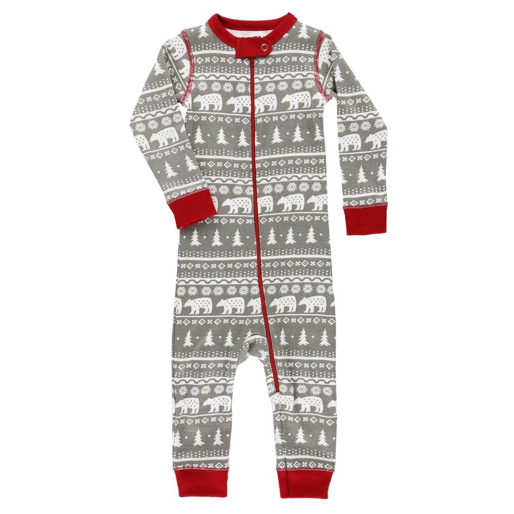 Lazy One Infant Nordic Bear Union Suit Onesie GRY_RED