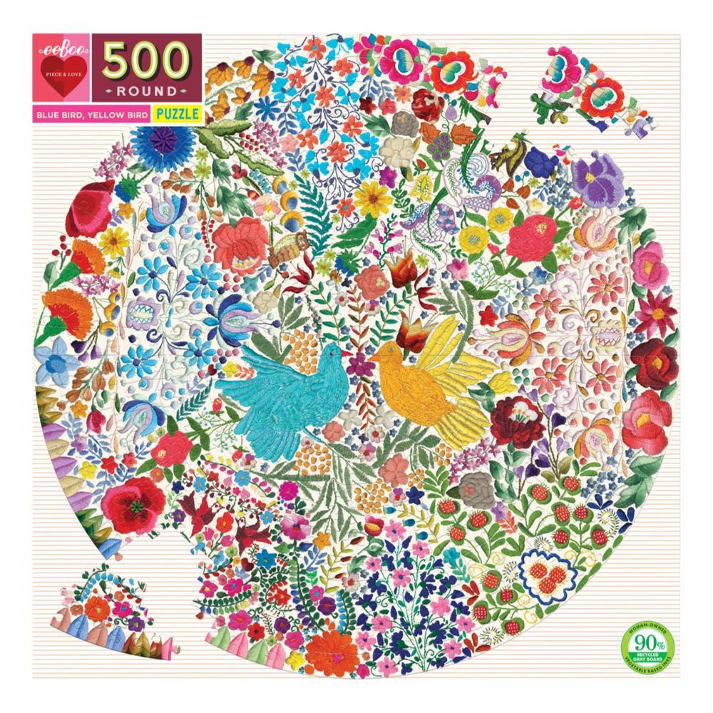 Eeboo Blue Bird Yellow Bird 500 Piece Round Puzzle