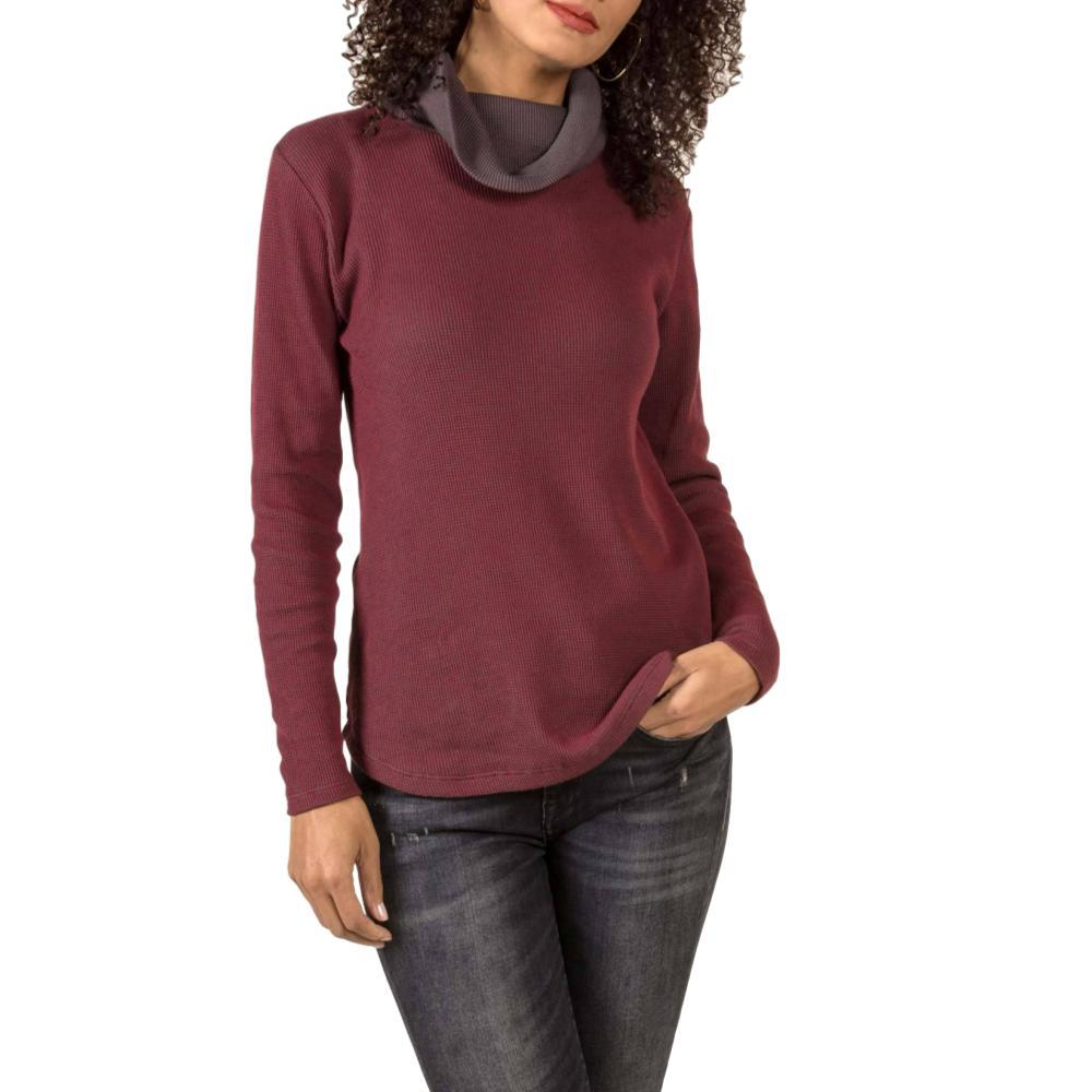 Indigenous Designs Women's Waffle Cowl Pullover CHERRY/CHRCL