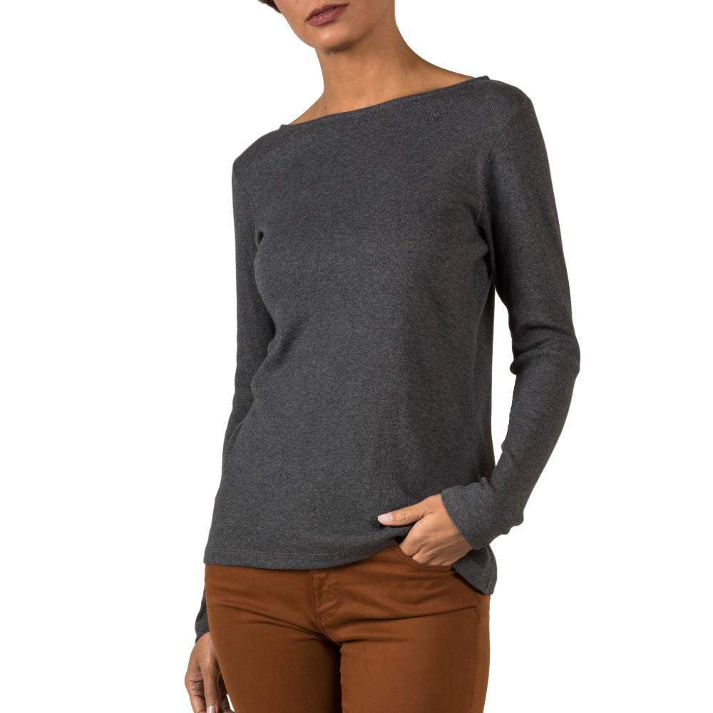 Indigenous Designs Women's Organic Essential Rib Boatneck Tee CHARCOAL