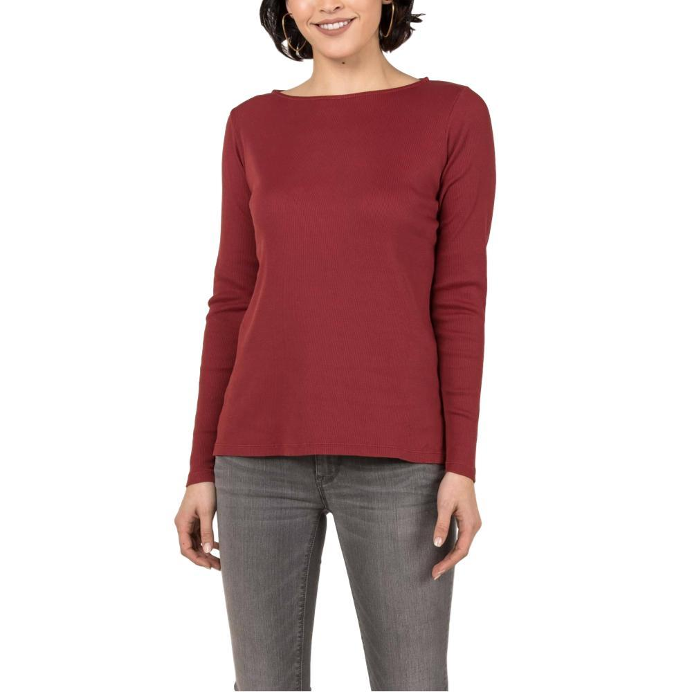 Indigenous Designs Women's Organic Essential Rib Boatneck Tee CHERRY
