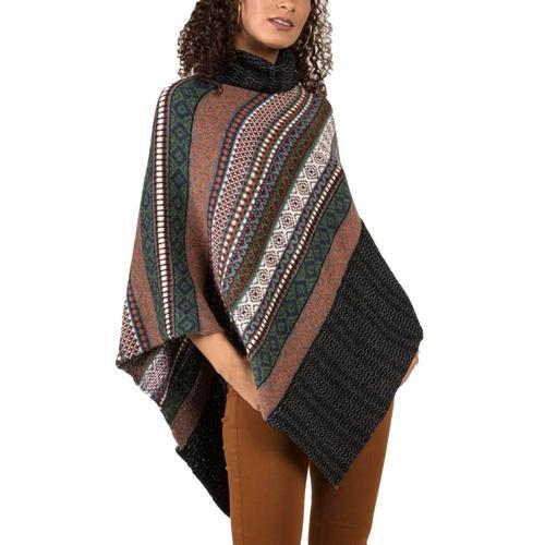 Indigenous Designs Women's Fair Isle Poncho Cayenne