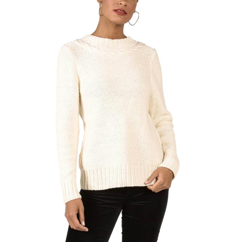 Indigenous Designs Women's Frise Cable Crew Sweater IVORY