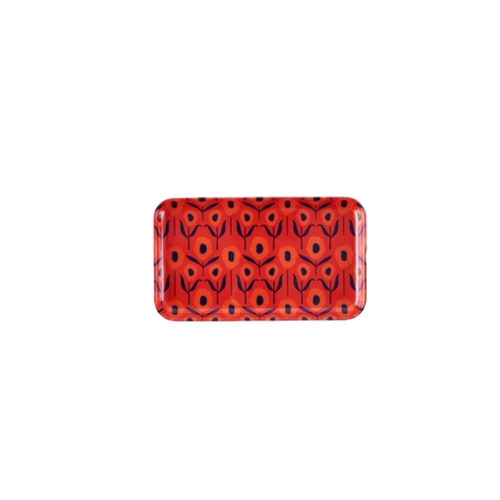One Hundred 80 Degrees Poppy Small Rectangular Tray RED