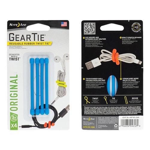 Nite Ize Gear Tie Reusable Rubber Twist Tie - 3in 4-Pack Brightblue