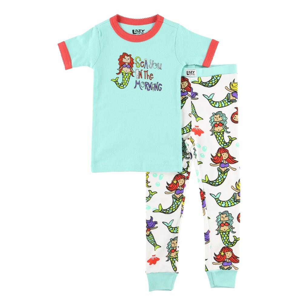Lazy One Kids Sea You in the Morning Mermaid PJ Set BLUE_CORL