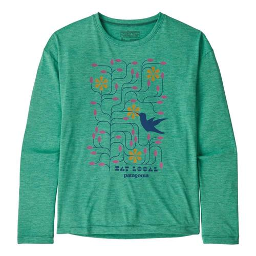 Patagonia Girls Long-Sleeved Capilene Cool Daily T-Shirt Green_epgx