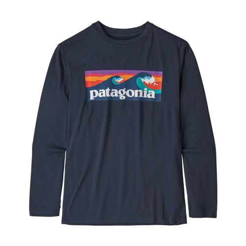 Patagonia Boys Long-Sleeved Capilene Cool Daily T-Shirt Navy_blne