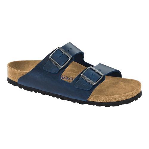 Birkenstock Women's Arizona Soft Footbed Oiled Leather Sandals - Regular Blue.Ol