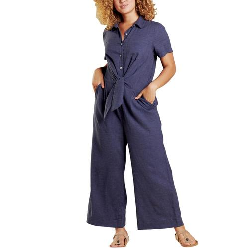 Toad&Co Women's Taj Short Sleeve Jumpsuit Truenavy_414