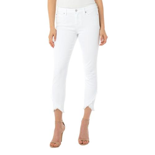 Liverpool Women's Abby Skinny Crop Front Scallop Hem Jeans White_105