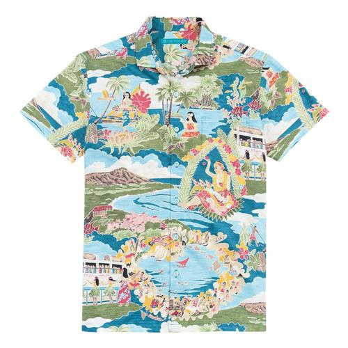 Tori Richard Men's Boat Day Aloha Short Sleeved Shirt Lagoon