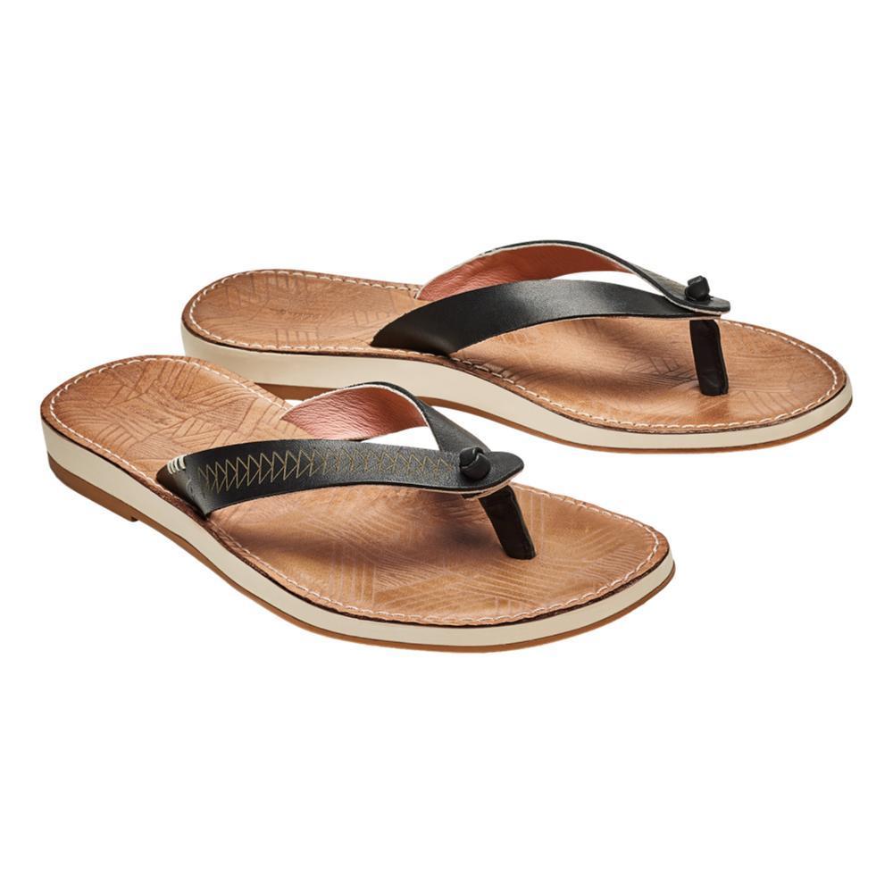 OluKai Women's Hawai'i loa Kia Hope Leather Beach Sandals BLK.GSND_40GS